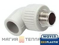 Wavin Ekoplastik  Колено 90° с металлической резьбой наружной 20*1/2 EK