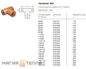 Wavin Тройник прямой с зажимами 126/60
