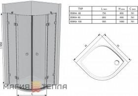 Ravak BSKK4-90 Transparent хром